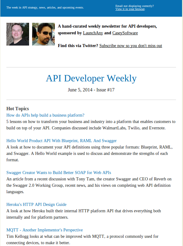 API Developer Weekly Newsletter